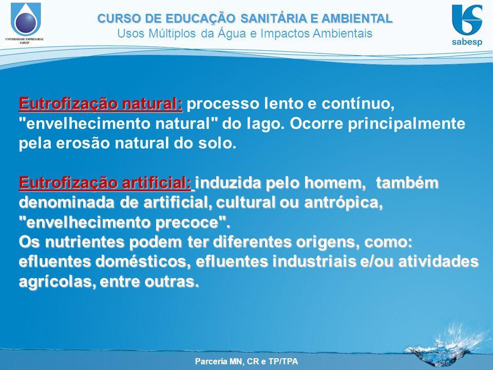 Parceria MN, CR e TP/TPA CURSO DE EDUCAÇÃO SANITÁRIA E AMBIENTAL Usos Múltiplos da Água e Impactos Ambientais Eutrofização natural: Eutrofização natural: processo lento e contínuo, envelhecimento natural do lago.