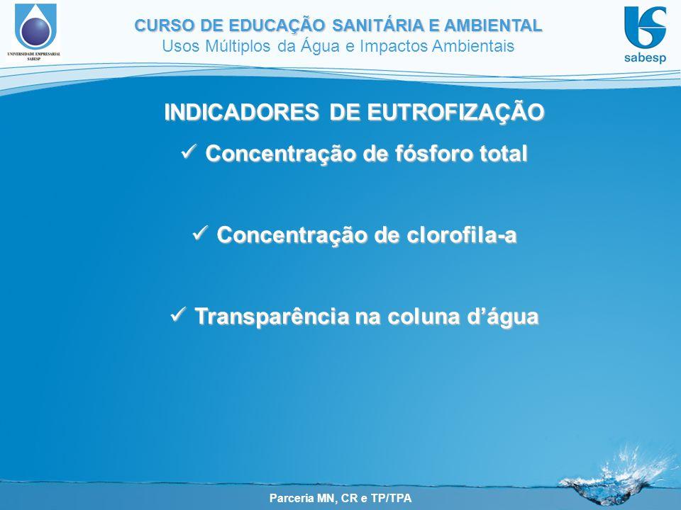 Parceria MN, CR e TP/TPA CURSO DE EDUCAÇÃO SANITÁRIA E AMBIENTAL Usos Múltiplos da Água e Impactos Ambientais INDICADORES DE EUTROFIZAÇÃO Concentração
