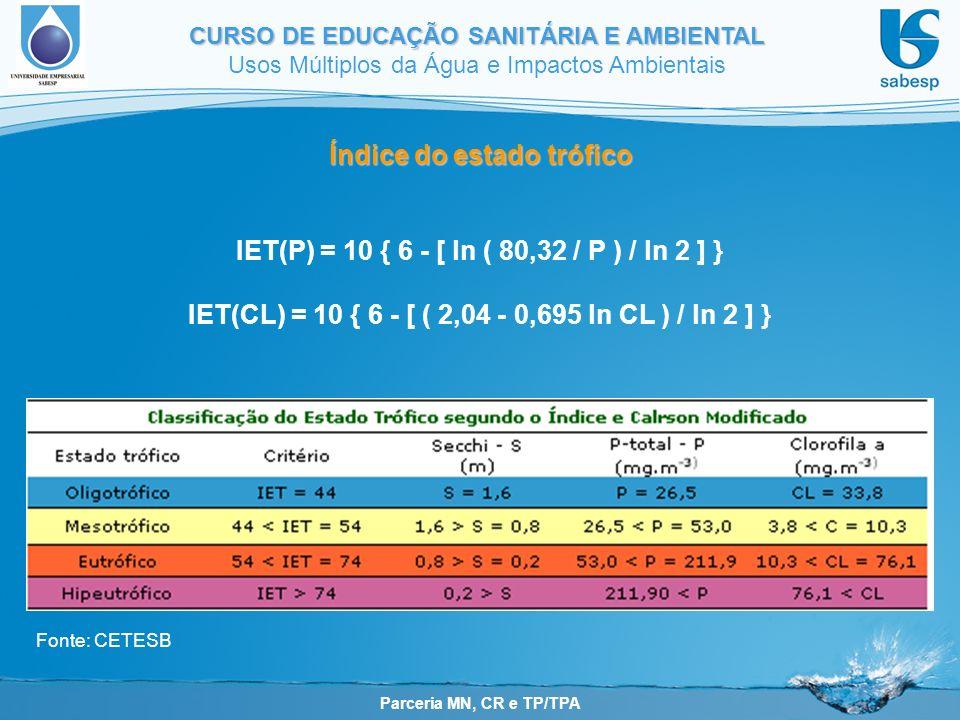 Parceria MN, CR e TP/TPA CURSO DE EDUCAÇÃO SANITÁRIA E AMBIENTAL Usos Múltiplos da Água e Impactos Ambientais Fonte: CETESB Índice do estado trófico IET(P) = 10 { 6 - [ ln ( 80,32 / P ) / ln 2 ] } IET(CL) = 10 { 6 - [ ( 2,04 - 0,695 ln CL ) / ln 2 ] }