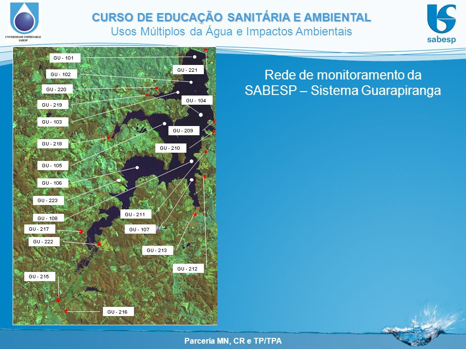 Parceria MN, CR e TP/TPA CURSO DE EDUCAÇÃO SANITÁRIA E AMBIENTAL Usos Múltiplos da Água e Impactos Ambientais pontos no reservatório pontos nos tributários Rede de monitoramento da SABESP – Sistema Guarapiranga