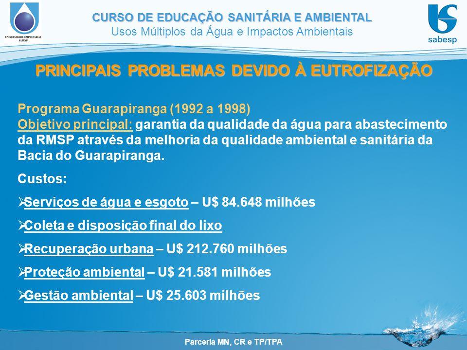 Parceria MN, CR e TP/TPA CURSO DE EDUCAÇÃO SANITÁRIA E AMBIENTAL Usos Múltiplos da Água e Impactos Ambientais PRINCIPAIS PROBLEMAS DEVIDO À EUTROFIZAÇÃO Programa Guarapiranga (1992 a 1998) Objetivo principal: garantia da qualidade da água para abastecimento da RMSP através da melhoria da qualidade ambiental e sanitária da Bacia do Guarapiranga.