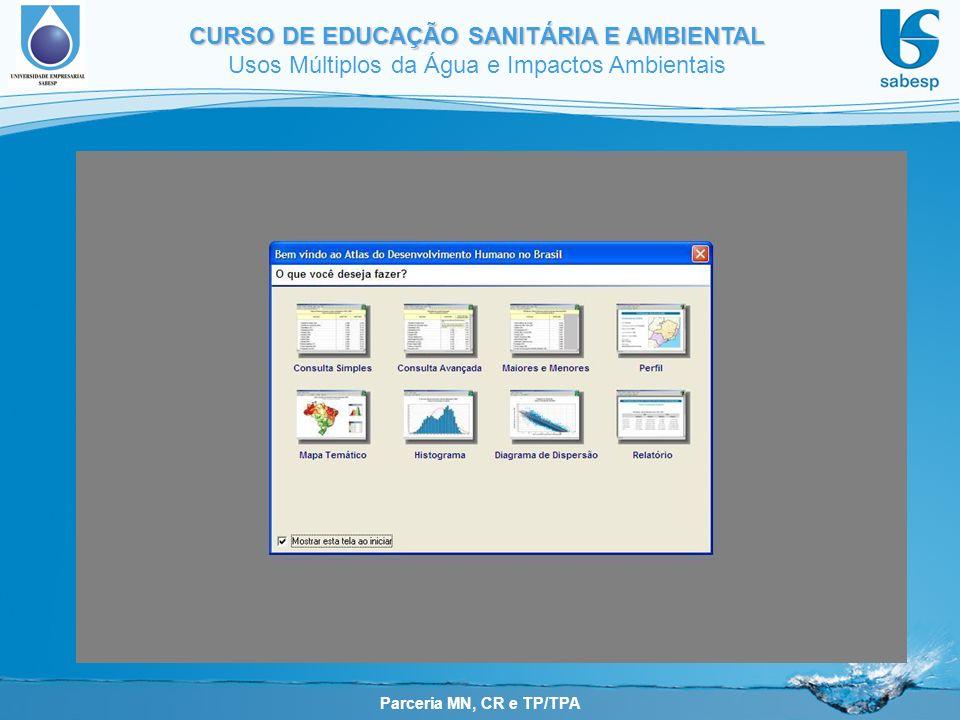 Parceria MN, CR e TP/TPA CURSO DE EDUCAÇÃO SANITÁRIA E AMBIENTAL Usos Múltiplos da Água e Impactos Ambientais