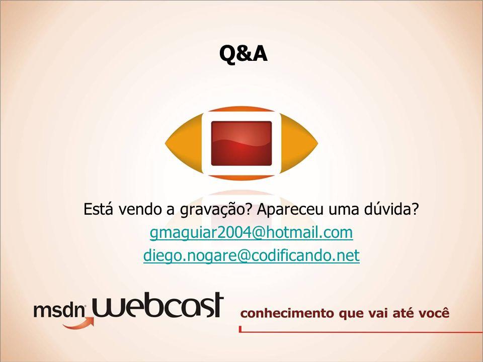 Q&A Está vendo a gravação? Apareceu uma dúvida? gmaguiar2004@hotmail.com diego.nogare@codificando.net