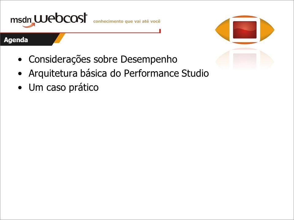 Agenda Considerações sobre Desempenho Arquitetura básica do Performance Studio Um caso prático