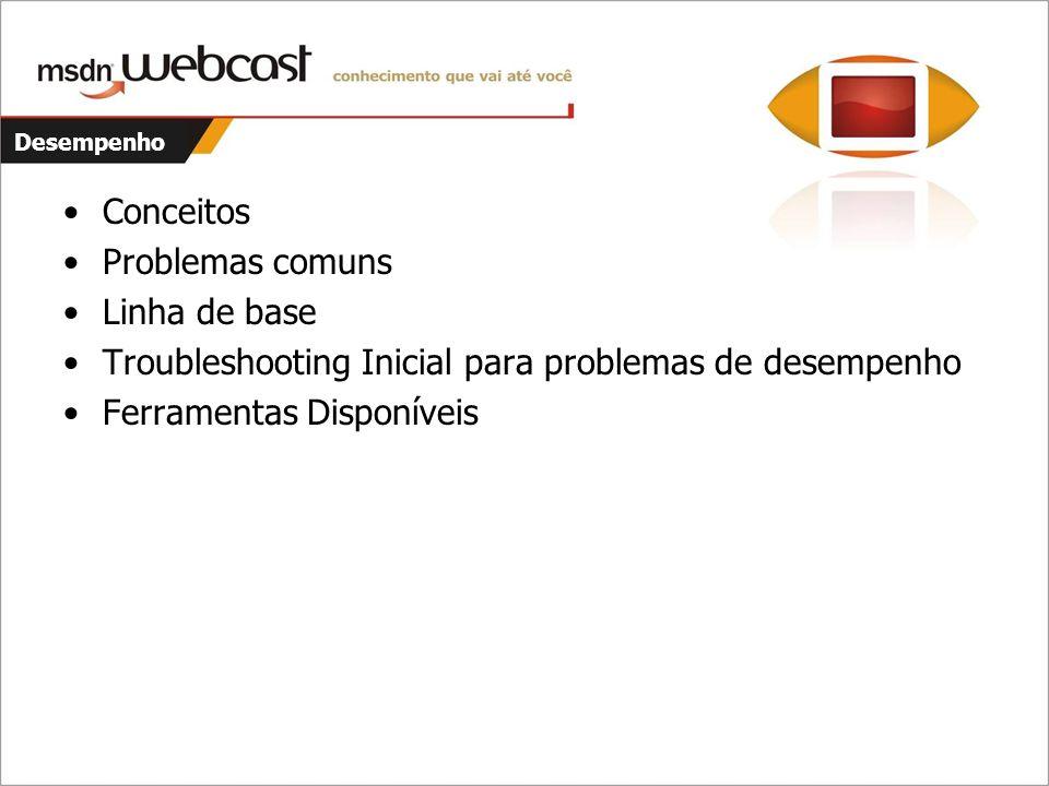 Desempenho Conceitos Problemas comuns Linha de base Troubleshooting Inicial para problemas de desempenho Ferramentas Disponíveis