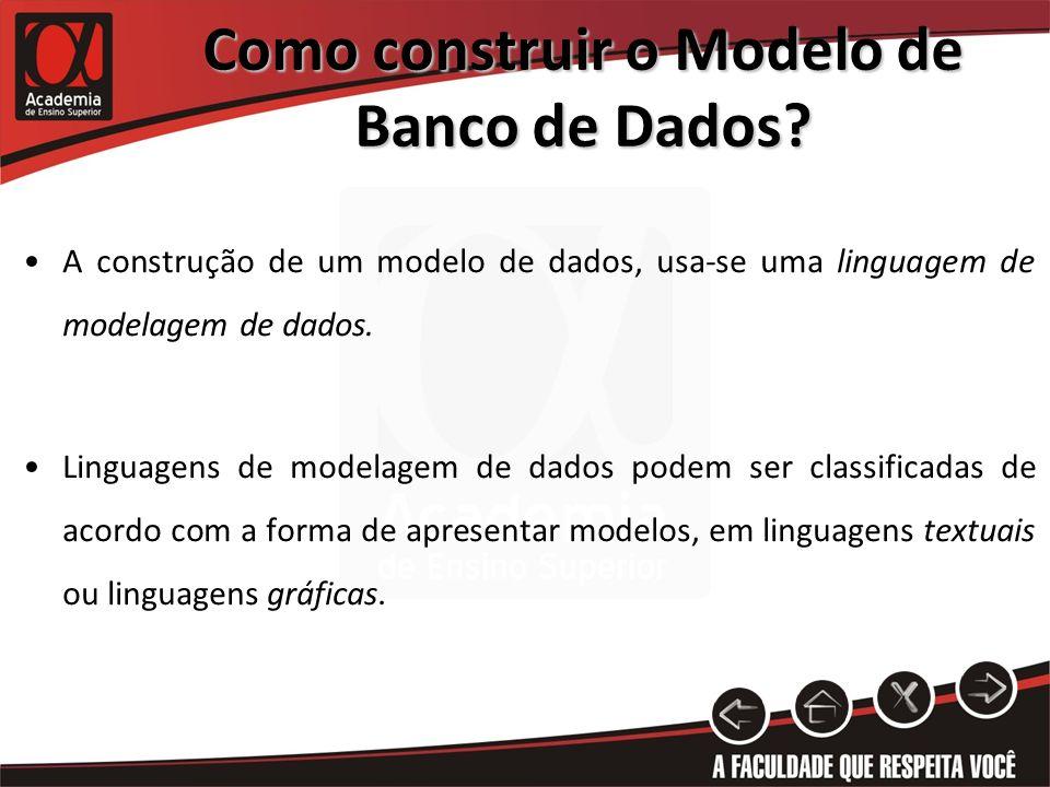 Como construir o Modelo de Banco de Dados? A construção de um modelo de dados, usa-se uma linguagem de modelagem de dados. Linguagens de modelagem de