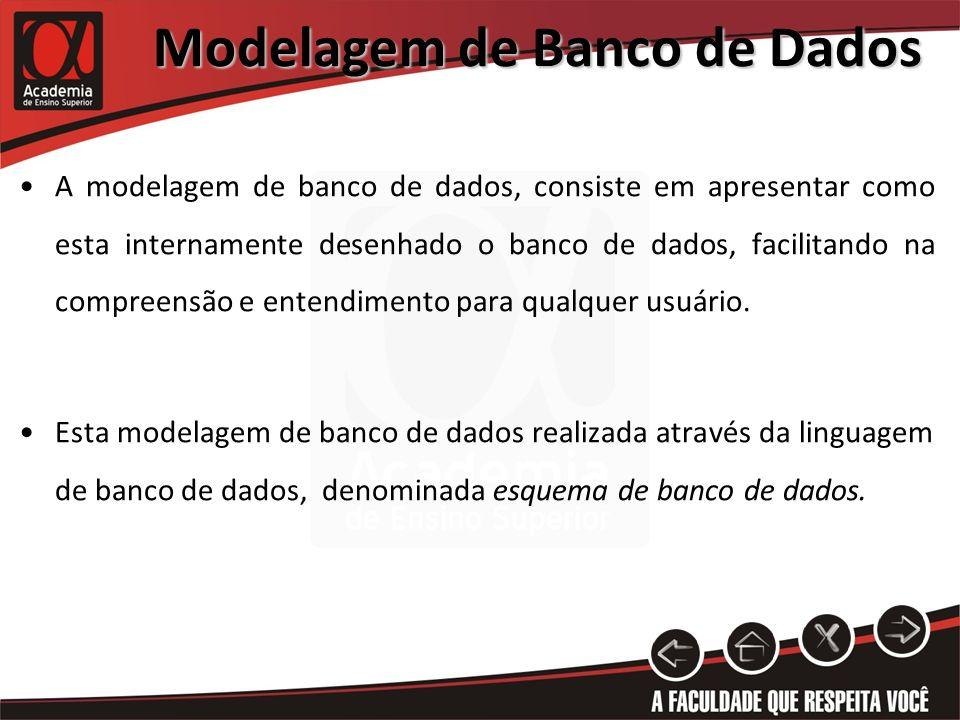 Modelagem de Banco de Dados A modelagem de banco de dados, consiste em apresentar como esta internamente desenhado o banco de dados, facilitando na co