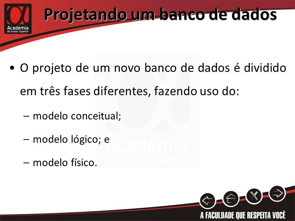 Projetando um banco de dados O projeto de um novo banco de dados é dividido em três fases diferentes, fazendo uso do: –modelo conceitual; –modelo lógi