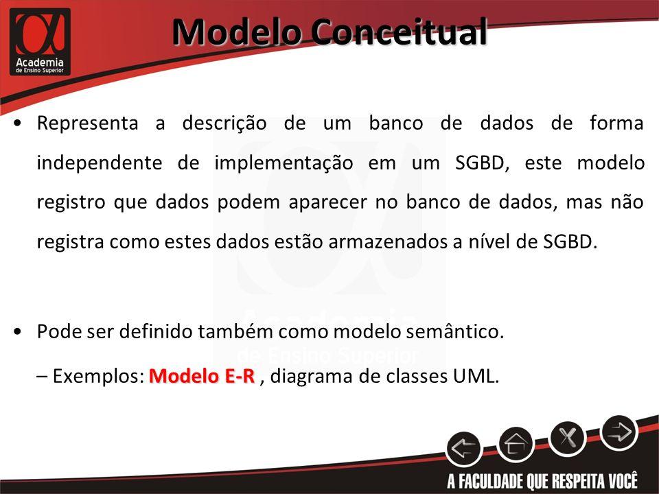 Modelo Conceitual Representa a descrição de um banco de dados de forma independente de implementação em um SGBD, este modelo registro que dados podem