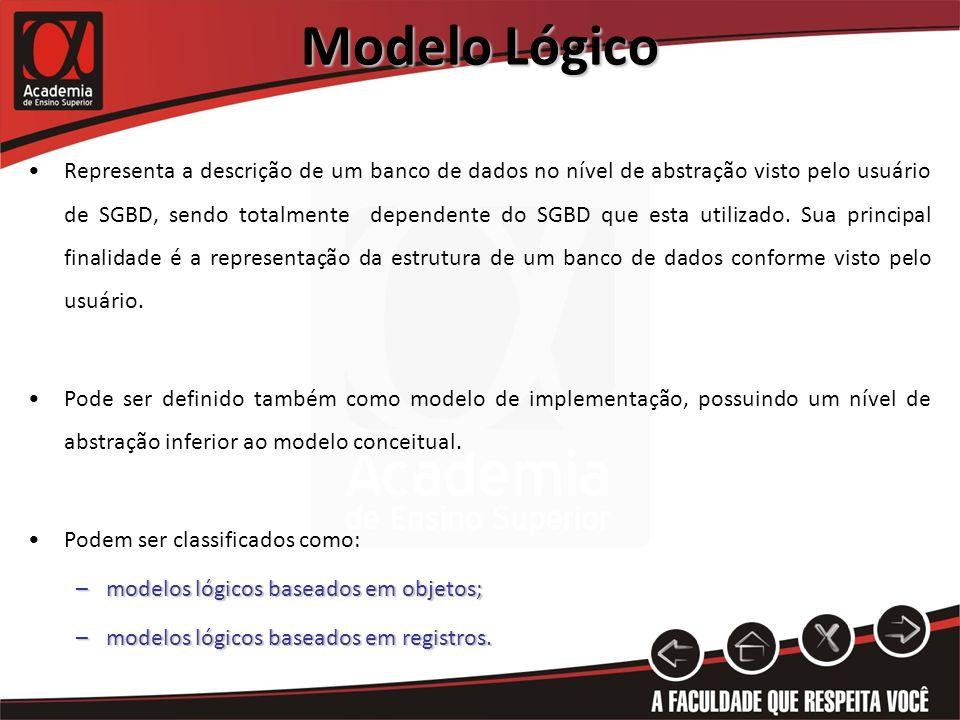 Modelo Lógico Representa a descrição de um banco de dados no nível de abstração visto pelo usuário de SGBD, sendo totalmente dependente do SGBD que es