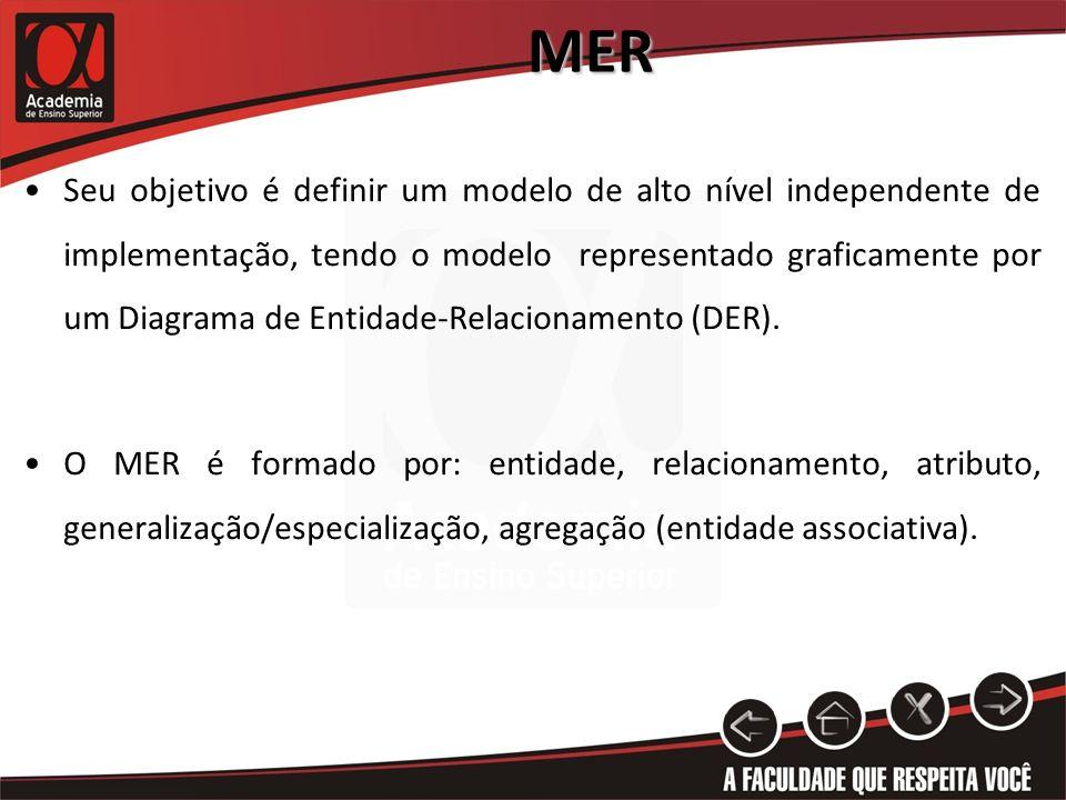 MER Seu objetivo é definir um modelo de alto nível independente de implementação, tendo o modelo representado graficamente por um Diagrama de Entidade