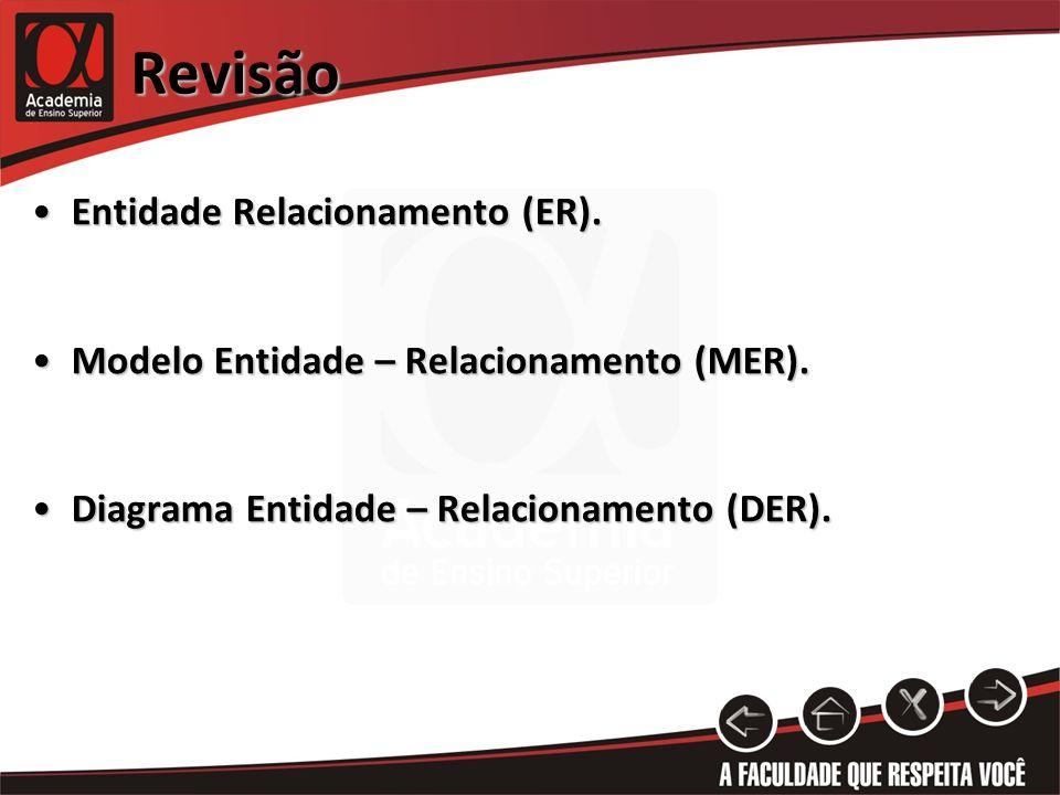 Revisão Entidade Relacionamento (ER).Entidade Relacionamento (ER). Modelo Entidade – Relacionamento (MER).Modelo Entidade – Relacionamento (MER). Diag