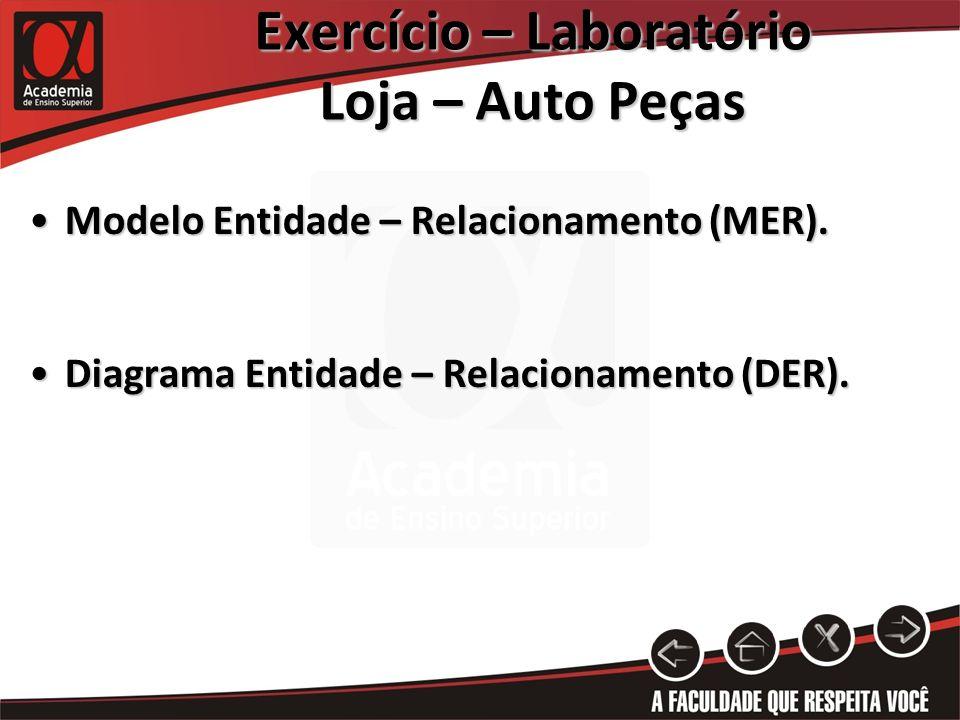 Exercício – Laboratório Loja – Auto Peças Modelo Entidade – Relacionamento (MER).Modelo Entidade – Relacionamento (MER). Diagrama Entidade – Relaciona