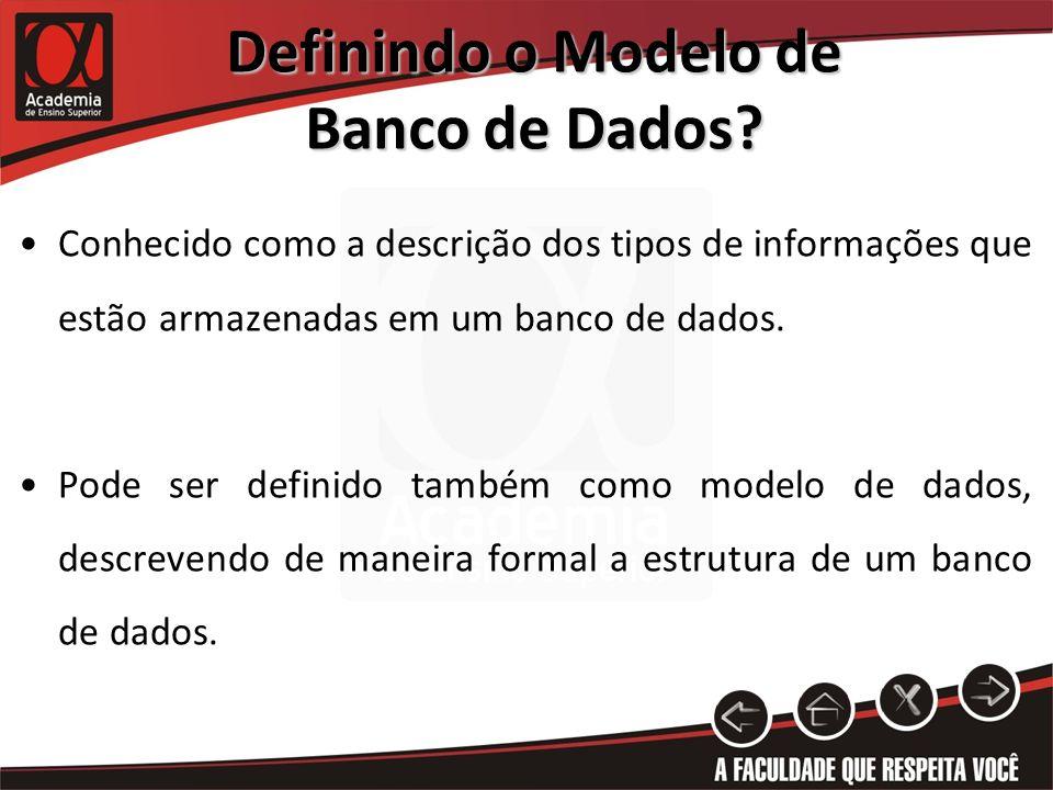 Definindo o Modelo de Banco de Dados? Conhecido como a descrição dos tipos de informações que estão armazenadas em um banco de dados. Pode ser definid