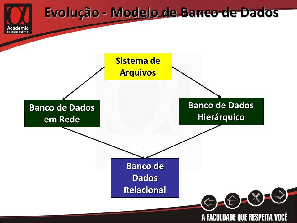 Evolução - Modelo de Banco de Dados Banco de Dados Hierárquico Banco de Dados Relacional Sistema de Arquivos Banco de Dados em Rede