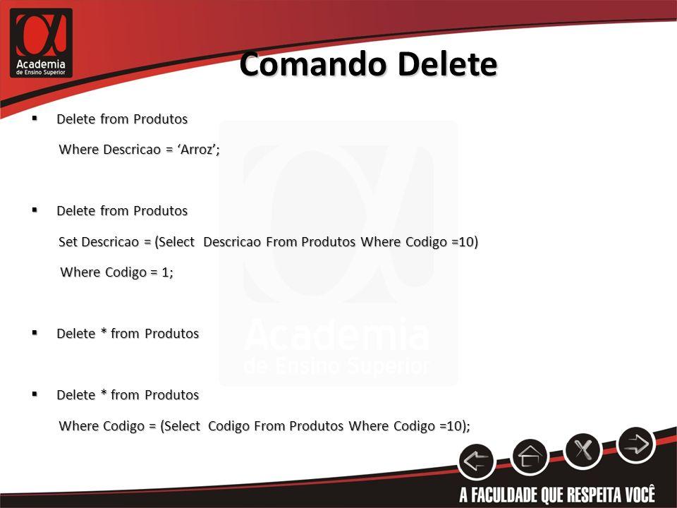Comando Delete Delete from Produtos Delete from Produtos Where Descricao = Arroz; Where Descricao = Arroz; Delete from Produtos Delete from Produtos Set Descricao = (Select Descricao From Produtos Where Codigo =10) Set Descricao = (Select Descricao From Produtos Where Codigo =10) Where Codigo = 1; Where Codigo = 1; Delete * from Produtos Delete * from Produtos Where Codigo = (Select Codigo From Produtos Where Codigo =10); Where Codigo = (Select Codigo From Produtos Where Codigo =10);