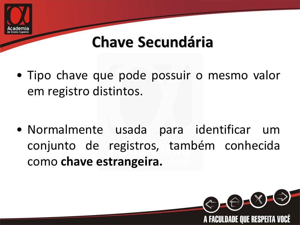 Chave Secundária Tipo chave que pode possuir o mesmo valor em registro distintos. Normalmente usada para identificar um conjunto de registros, também