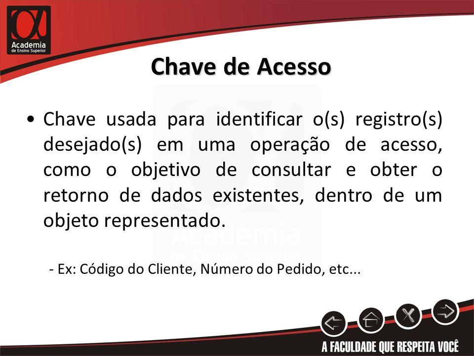 Chave de Acesso Chave usada para identificar o(s) registro(s) desejado(s) em uma operação de acesso, como o objetivo de consultar e obter o retorno de