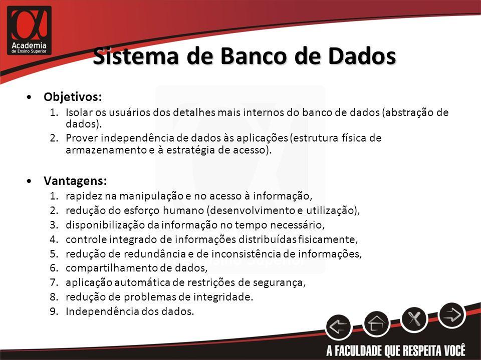 Sistema de Banco de Dados Objetivos: 1.Isolar os usuários dos detalhes mais internos do banco de dados (abstração de dados). 2.Prover independência de