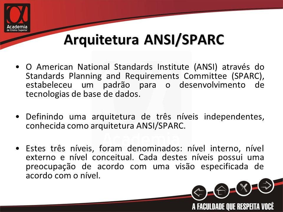 Arquitetura ANSI/SPARC O American National Standards Institute (ANSI) através do Standards Planning and Requirements Committee (SPARC), estabeleceu um