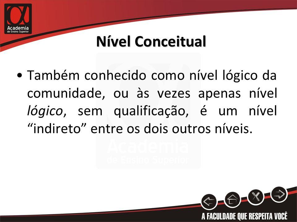 Nível Conceitual Também conhecido como nível lógico da comunidade, ou às vezes apenas nível lógico, sem qualificação, é um nível indireto entre os doi