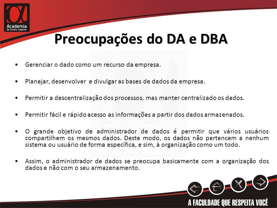Preocupações do DA e DBA Gerenciar o dado como um recurso da empresa. Planejar, desenvolver e divulgar as bases de dados da empresa. Permitir a descen