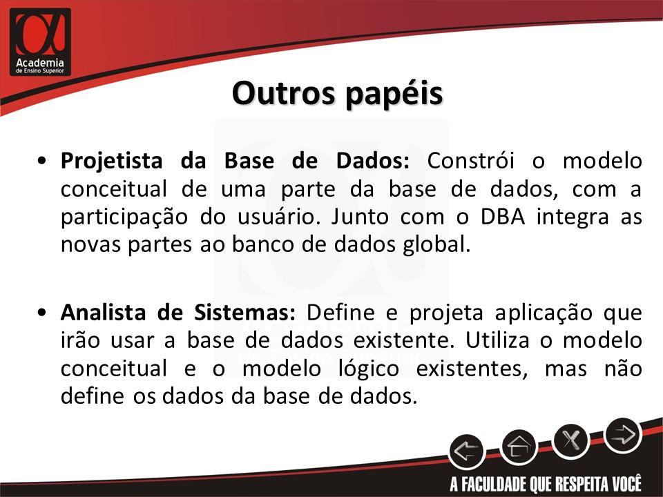 Outros papéis Projetista da Base de Dados: Constrói o modelo conceitual de uma parte da base de dados, com a participação do usuário. Junto com o DBA