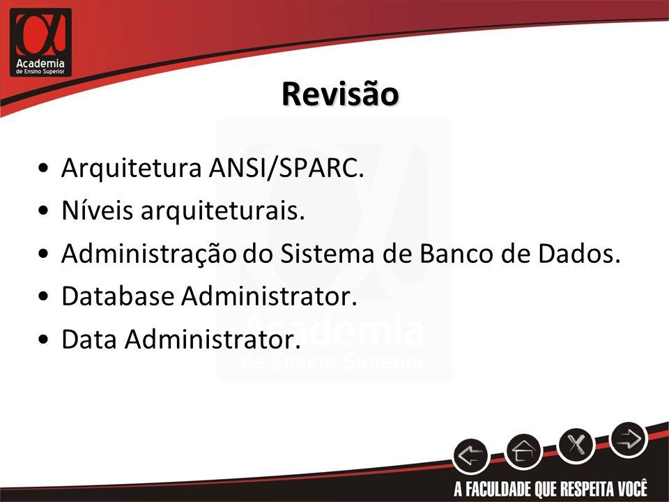 Revisão Arquitetura ANSI/SPARC. Níveis arquiteturais. Administração do Sistema de Banco de Dados. Database Administrator. Data Administrator.