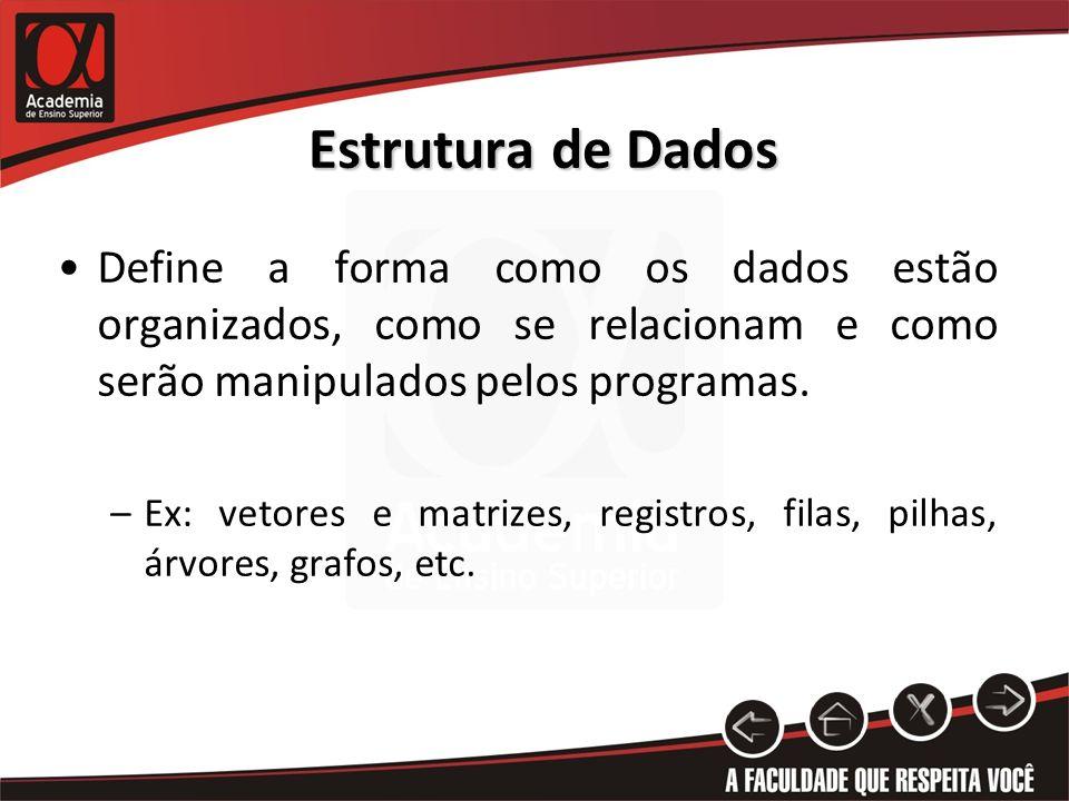 Estrutura de Dados Define a forma como os dados estão organizados, como se relacionam e como serão manipulados pelos programas. –Ex: vetores e matrize