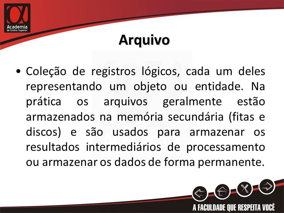 Arquivo Coleção de registros lógicos, cada um deles representando um objeto ou entidade. Na prática os arquivos geralmente estão armazenados na memóri
