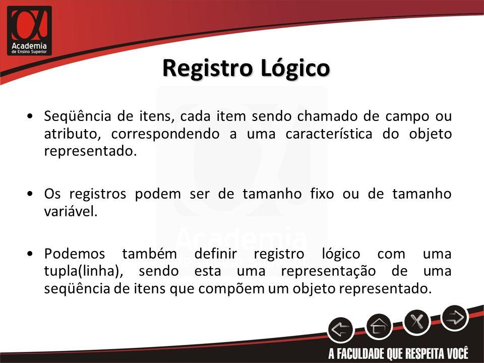Registro Lógico Seqüência de itens, cada item sendo chamado de campo ou atributo, correspondendo a uma característica do objeto representado. Os regis