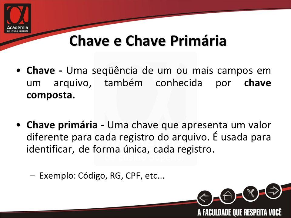 Chave e Chave Primária Chave - Uma seqüência de um ou mais campos em um arquivo, também conhecida por chave composta. Chave primária - Uma chave que a