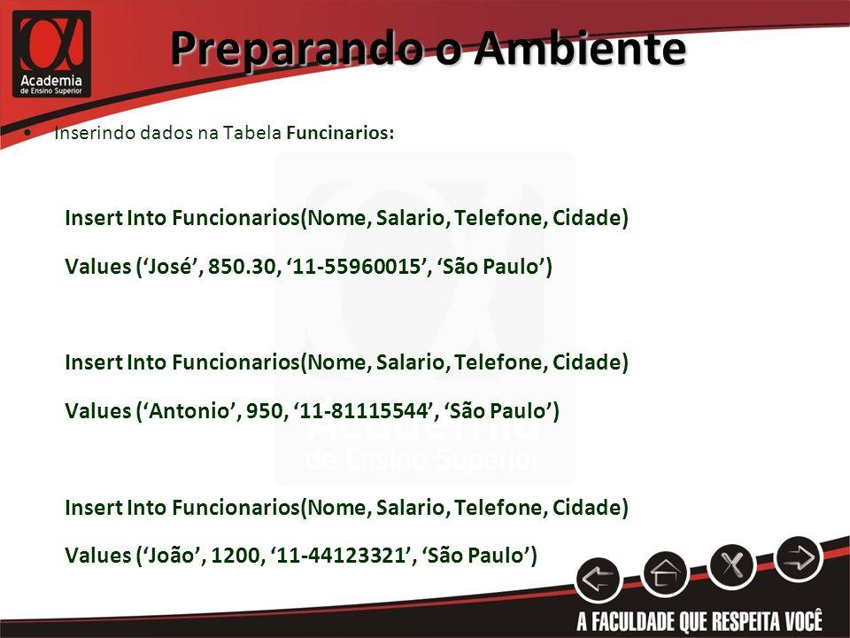 Preparando o Ambiente Inserindo dados na Tabela Funcinarios: Insert Into Funcionarios(Nome, Salario, Telefone, Cidade) Values (José, 850.30, 11-55960015, São Paulo) Insert Into Funcionarios(Nome, Salario, Telefone, Cidade) Values (Antonio, 950, 11-81115544, São Paulo) Insert Into Funcionarios(Nome, Salario, Telefone, Cidade) Values (João, 1200, 11-44123321, São Paulo)