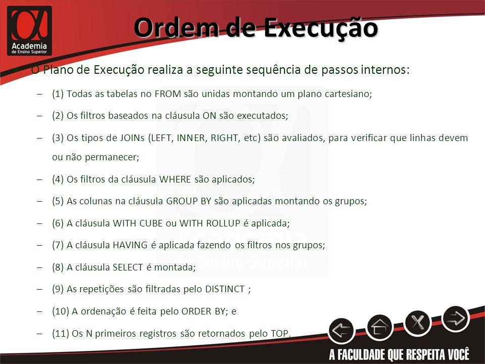 Ordem de Execução O Plano de Execução realiza a seguinte sequência de passos internos: –(1) Todas as tabelas no FROM são unidas montando um plano cart