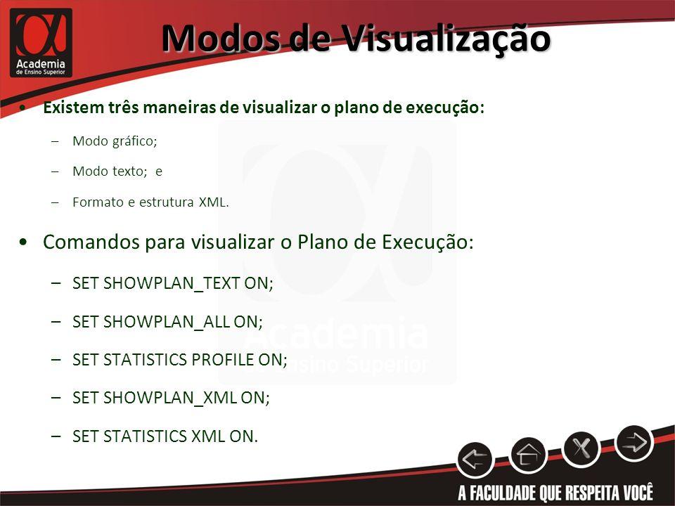 Modos de Visualização Existem três maneiras de visualizar o plano de execução: –Modo gráfico; –Modo texto; e –Formato e estrutura XML. Comandos para v