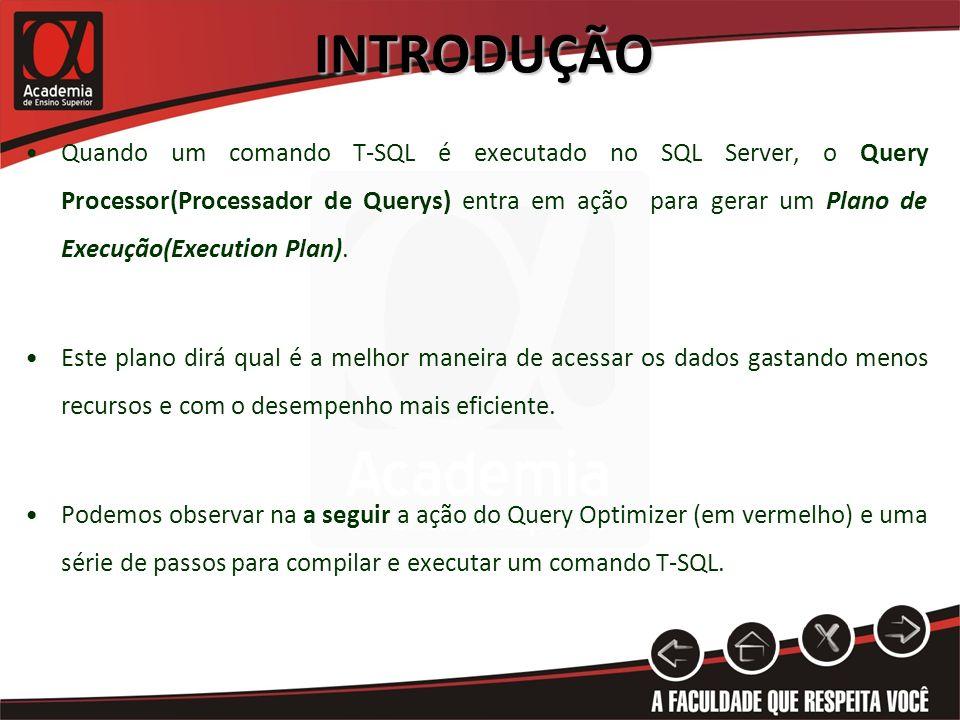 INTRODUÇÃO Quando um comando T-SQL é executado no SQL Server, o Query Processor(Processador de Querys) entra em ação para gerar um Plano de Execução(Execution Plan).