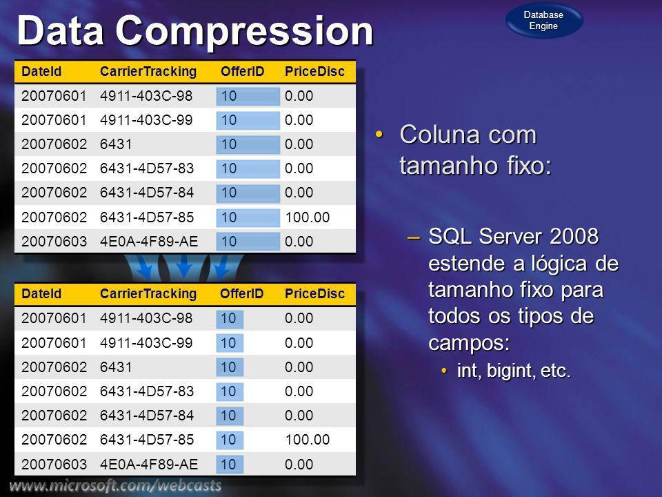 Data Compression Compressão de Prefixo:Compressão de Prefixo: –A lista de prefixos é armazenada na página para prefixos comuns.