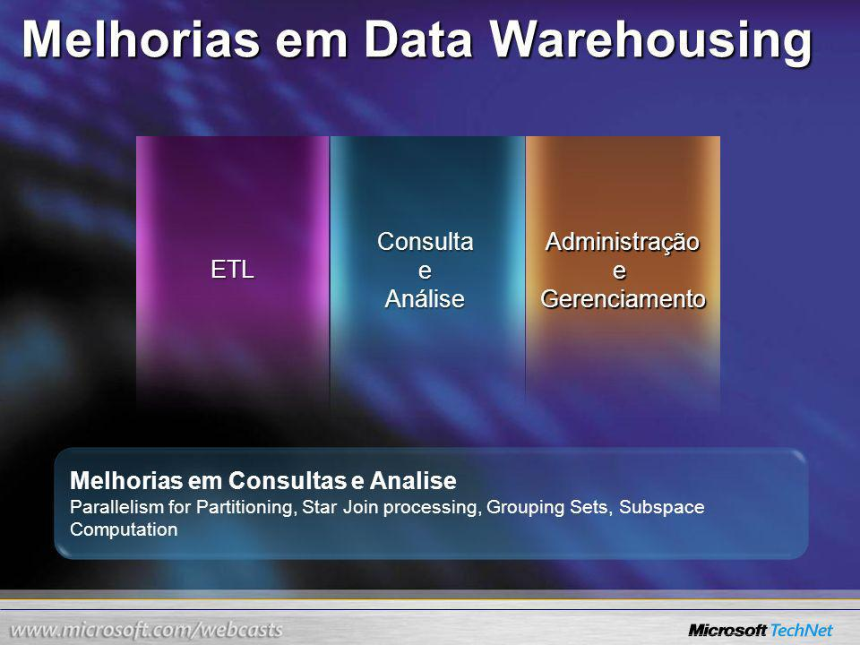 Melhorias em Data Warehousing ETL ConsultaeAnáliseAdministraçãoeGerenciamento Melhorias em Consultas e Analise Parallelism for Partitioning, Star Join processing, Grouping Sets, Subspace Computation