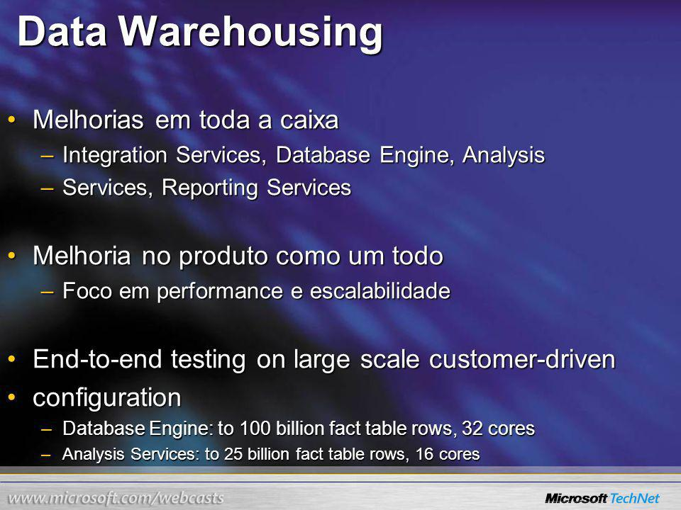 Data Warehousing Melhorias em toda a caixaMelhorias em toda a caixa –Integration Services, Database Engine, Analysis –Services, Reporting Services Melhoria no produto como um todoMelhoria no produto como um todo –Foco em performance e escalabilidade End-to-end testing on large scale customer-drivenEnd-to-end testing on large scale customer-driven configurationconfiguration –Database Engine: to 100 billion fact table rows, 32 cores –Analysis Services: to 25 billion fact table rows, 16 cores