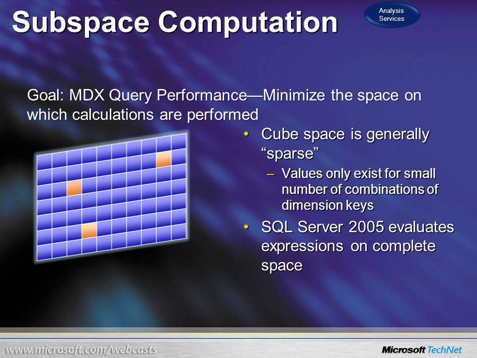 Subspace Computation Cube space is generally sparseCube space is generally sparse –Values only exist for small number of combinations of dimension key