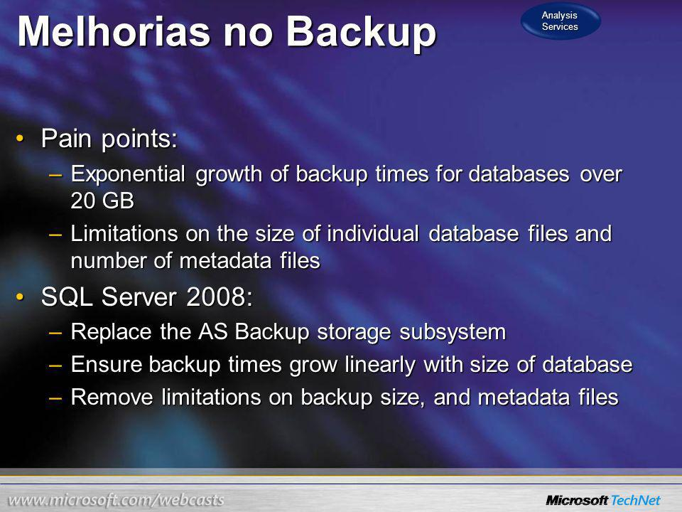 Melhorias no Backup Pain points:Pain points: –Exponential growth of backup times for databases over 20 GB –Limitations on the size of individual datab