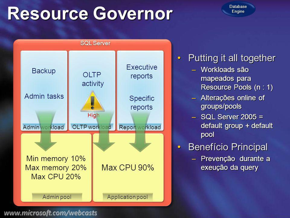 Resource Governor Putting it all togetherPutting it all together –Workloads são mapeados para Resource Pools (n : 1) –Alterações online of groups/pools –SQL Server 2005 = default group + default pool Benefício PrincipalBenefício Principal –Prevenção durante a exeução da query SQL Server Min memory 10% Max memory 20% Max CPU 20% Min memory 10% Max memory 20% Max CPU 20% Admin workload Backup Admin tasks OLTP workload OLTP activity Report workload Specific reports Executive reports High Max CPU 90% Application pool Admin pool Database Engine