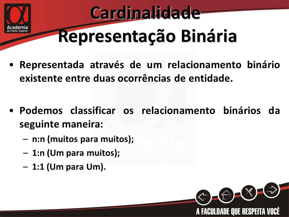 Cardinalidade Representação Binária Representação Binária Representada através de um relacionamento binário existente entre duas ocorrências de entida