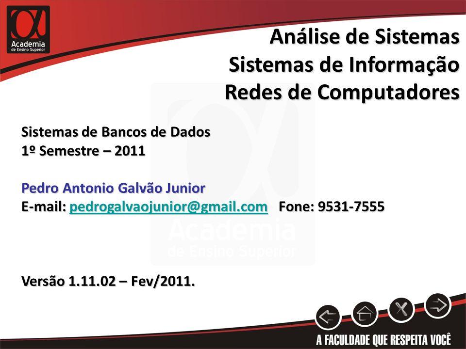 Sistemas de Bancos de Dados 1º Semestre – 2011 Pedro Antonio Galvão Junior E-mail: pedrogalvaojunior@gmail.com Fone: 9531-7555 pedrogalvaojunior@gmail