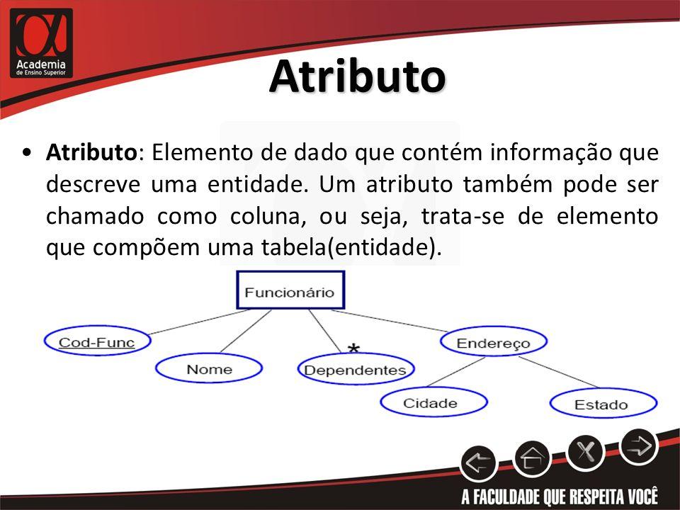 Atributo Atributo: Elemento de dado que contém informação que descreve uma entidade. Um atributo também pode ser chamado como coluna, ou seja, trata-s