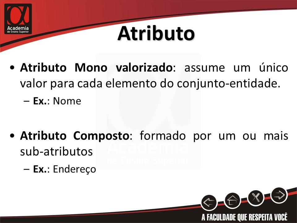 Atributo Atributo Mono valorizado: assume um único valor para cada elemento do conjunto-entidade. –Ex.: Nome Atributo Composto: formado por um ou mais