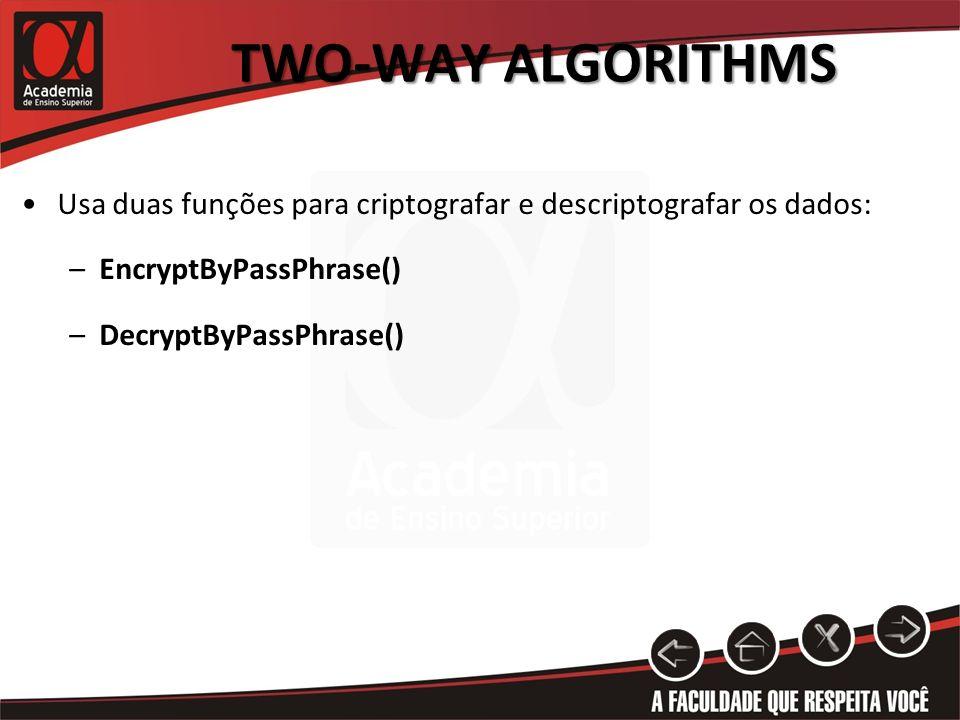 Par de chaves públicas e privadas: –Criptografia com chave publica, descriptografia com chave privada.