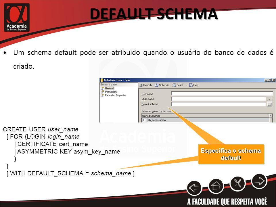 DEFAULT SCHEMA CREATE USER user_name [ FOR {LOGIN login_name | CERTIFICATE cert_name | ASYMMETRIC KEY asym_key_name } ] [ WITH DEFAULT_SCHEMA = schema