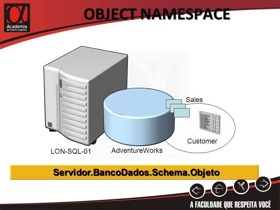 OBJECT NAMESPACE Sales Customer AdventureWorks LON-SQL-01 Servidor.BancoDados.Schema.Objeto