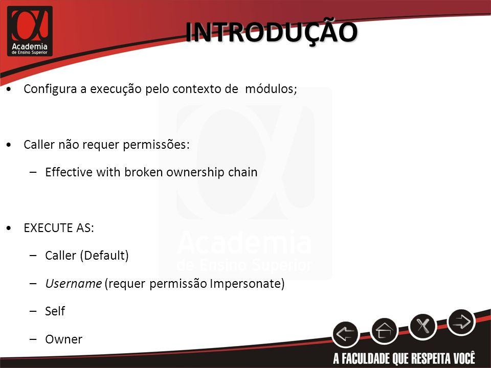 INTRODUÇÃO Configura a execução pelo contexto de módulos; Caller não requer permissões: –Effective with broken ownership chain EXECUTE AS: –Caller (De
